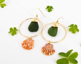 Genuine Seaglass x Sunrise Shell Earrings