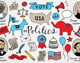 Political Clipart - Voting clip art, republican democrat clipart, hand drawn illustration, USA American politics, Historical Figures