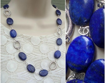 Long Necklace.Lapis Blue Stone.Beaded Necklace.Metal plate in sterling silver.Statement Necklace.Bridal.Dark Blue.Layer.Chunky.Handmade.
