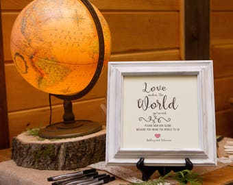Globe guestbook sign, wedding printable, travel themed wedding, globe, travel wedding, sign our guestbook globe