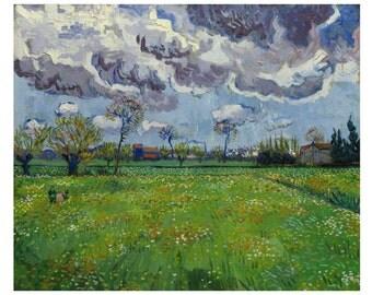 Paysage Sous un Ciel Mouvemente by Vincent Van Gogh Home Decor Wall Decor Giclee Art Print Poster A4 A3 A2 Large Print FLAT RATE SHIPPING