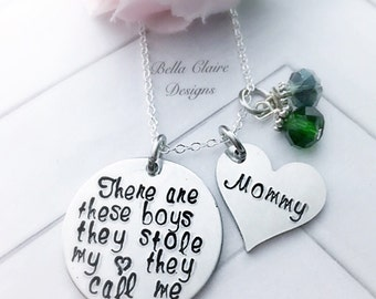 Mothers Personalized necklace, Mothers Day Gift boy mom necklace,  There are these Boys  mothers necklace, boy mom jewelry, boy grandma jewe