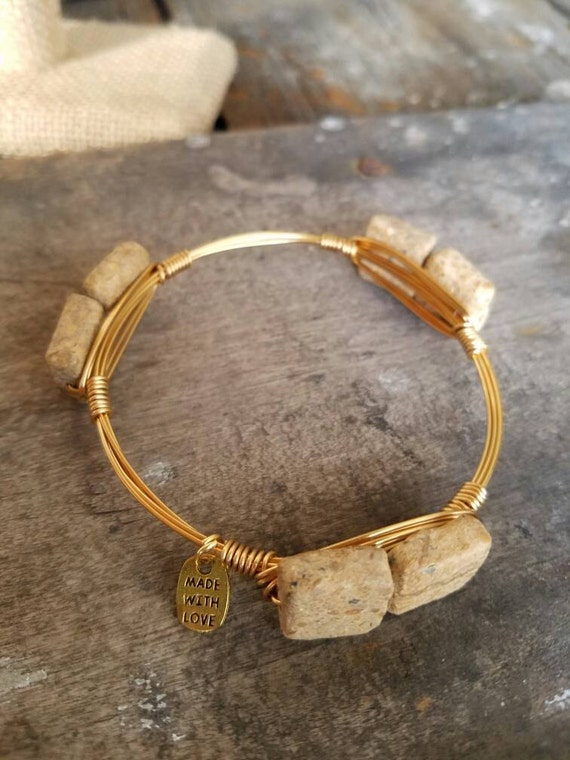 Riverstone Gemstone Bangle, Neutral Gemstone Bangle Stack, gemstone jewelry, bangles, neutral jewelry, handmade, stack stone bangles