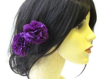 2 x Purple Carnation Flower Hair Pins Bridesmaid Clip Floral Wedding Summer 1496