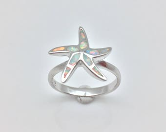 Opal Ring // Starfish Opal Ring // White Opal Starfish Ring // 925 Sterling Silver // Rhodium Finish // Sterling Starfish Ring
