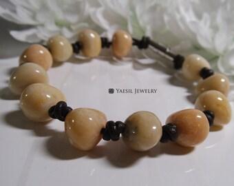 Men's Pebble Bracelet, Leather Bracelet, Hand Knotted Leather Bracelet, Gift for Dad