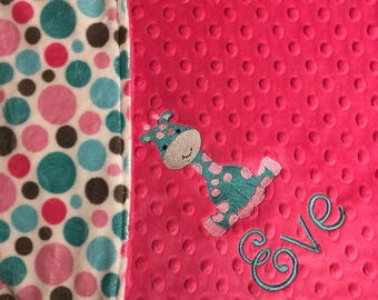 Baby Blanket Pink Teal Polkadots Blanket Giraffe Toddler Blanket Safari Baby Blanket Jungle Nursery Stroller Blanket Giraffe Zoo Theme