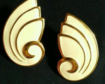 Vintage Napier Earrings Goldtone cream Enamel art deco chunky big Modernist Geometric fashion clip on screw back jewelry mod retro designer