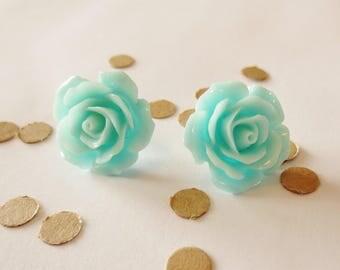 Rose Earring Stud, Flower Earrings, Turquoise Rose