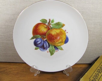 Bareuther - Waldsassen - Fruit Plate - Apples and Plums - Gold Accent - Smooth Rim - Made in Bavaria, Germany