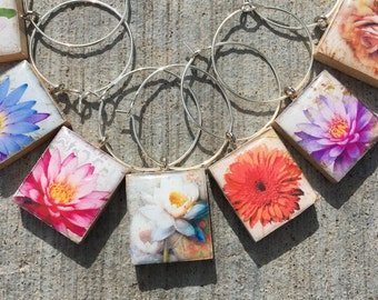Scrabble Tile wine charms, Flower wine charms, wine lovers gift, bouquet of flowers, wine charms, wine glass charms