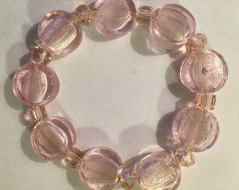 Bracelet ( Pale Pink  With Crystals )