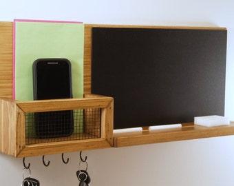 Wall Mail Organizer-Chalkboard Message Center-Key Rack-Honey Oak Finish