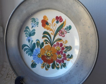 vintage French decorative hand painted signed ceramic and pewter plate