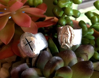 Rings, cross ring, Lady of Guadalupe, religion, wide band rings