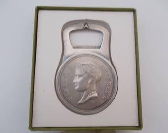 Pristine Christofle Silver Plated EMPEREUR NAPOLEON Bottle Opener.  Full Christofle Gallia Collection Hallmarks.