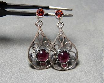 Garnet Gemstones and Sterling Silver Dangle Post Earrings