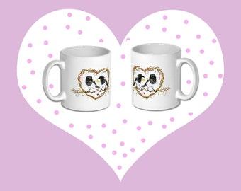 Two for joy matching magpie mugs ( valentines matching mug set )