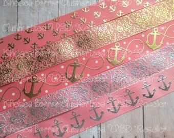 "7/8"" Gold Silver Foil Lt Coral Anchors Mini Little Anchors Infinity Anchors Damask Filler Beach Summer Ocean US Designer Grosgrain Ribbon"