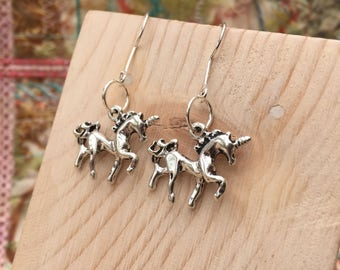 Unicorn Earrings, Silver Unicorn Earrings, Dangle Earrings, Unicorns, Cute Earrings, Pegasus Earrings, unicorn Jewelry, Pegasus, FREE P&P