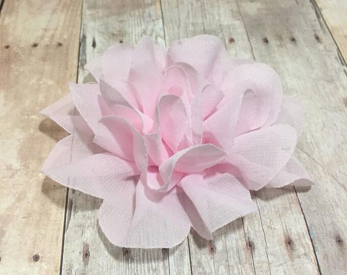"4"" Light Pink Chiffon Flower | Flower for Dog Collar | Medium/Large Dog | CupcakePups"