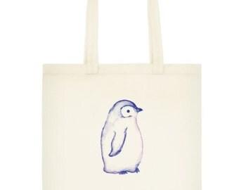 Penguin Watercolor Tote Bag, Reusable Cotton Grocery Bag