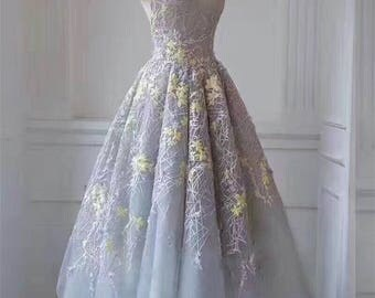 Grey netting Yellow Floral Lace Fabric Embroidered Bridal dress Veil Gauze wedding Dress 59 '' 1 Yard X0183