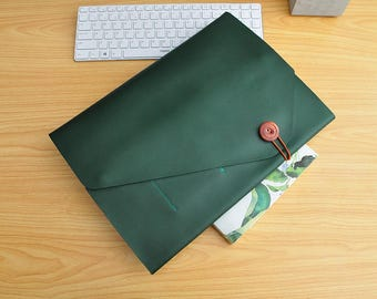 Personalized computer case leather notebook case leather laptop sleeves custom size for 11inch -15inch laptop covers Green leather bags-086