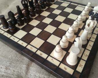 Board Wooden Game. Wooden Chess board. Chess set Carved chess