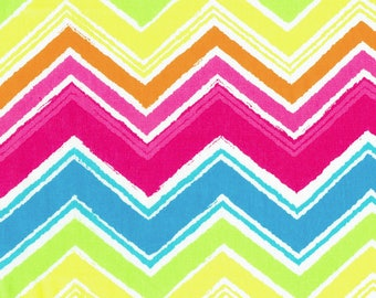 "Fabric ""On a Different Wavelength"" Rainbow Chevron Zigzag Print - By the Yard"