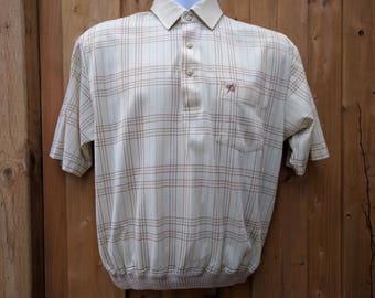 Vintage 1970s Beige Cap Sleeve Plaid Golf Shirt With Elastic Waist Polo Umbrella Embroidered on Pocket