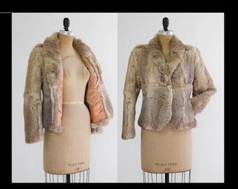 Vintage Rabbit Fur Coat XS Brown