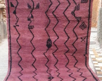"""Thick Pile Red Large Soft pile Beni Ourain 100% Moroccan Rug Hand Woven  Wool Rug 9 Ft 8"""" x 6 ft 8"""" Berber Tribal Rug"""