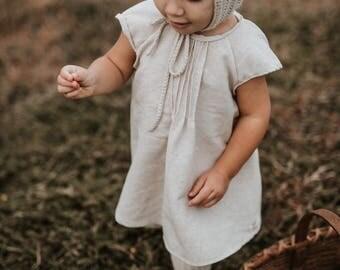 Biscuit linen retro mini dress