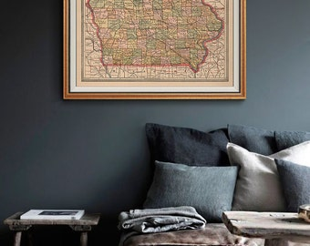 Iowa Vintage Map 1883, Antique Color Map, Indiana Map, Iowa Map, State Map- CP166