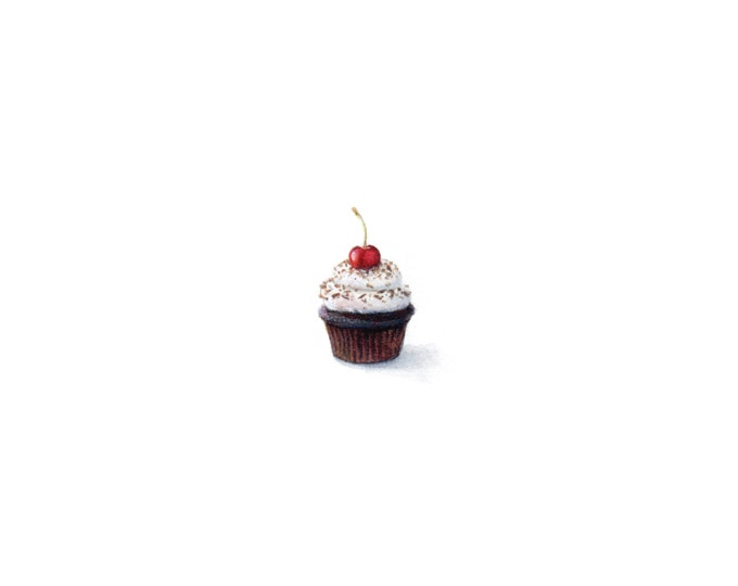 "Print of miniature painting of a Cup Cake. 1 1/4"" x 1 1/4"" print of original Cup Cake painting on 5"" square german etching paper"
