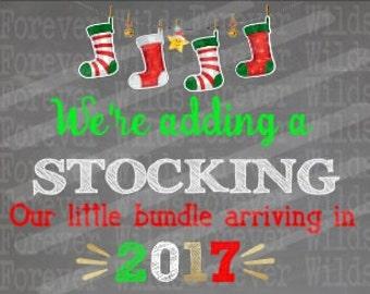 Christmas Pregnancy Announcement printable - New Baby - Christmas announcement  - Pregnant - Digital File - adding a stocking - im Pregnant