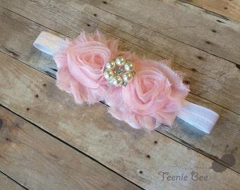 Pink Pearl Flower Headband - Flower Baptism Headband - Pearl Rhinestone Baby Headband - Pearl Flower Headband - Jeweled Flower Headband