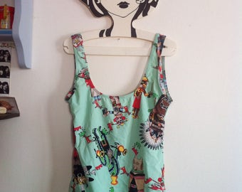RARE and fabulous! Hermes one piece pale green swimsuit with wonderful native american indian print