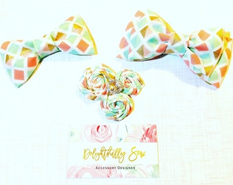 Bow Tie, Hairbow, Rosette Hairclip, Easter, pastels, brother and sister, Matching, babies, toddlers