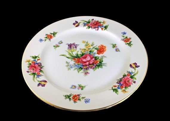 Dinner Plates, Sango China, Occupied Japan, Floradel, Floral Pattern, Multi-floral, Gold Trim, Set of 2