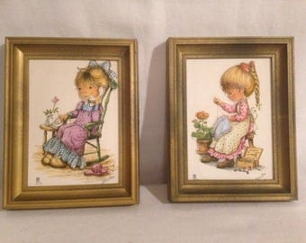 Painting drawing embossed MARY MAY Vintage set of 2 + frames