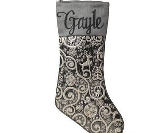 Personalised Silver Jacquard Christmas Stocking