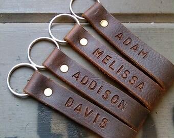 Custom Name Leather Keychain, Lanyard, Handmade