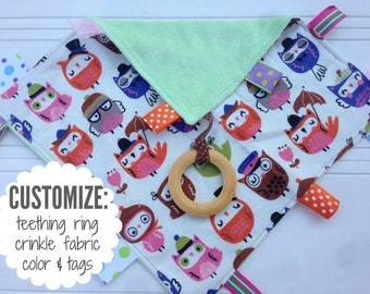 Baby Sensory Tag Blanket | Options: Natural Teething Ring, Crinkle Material, Color | Owls