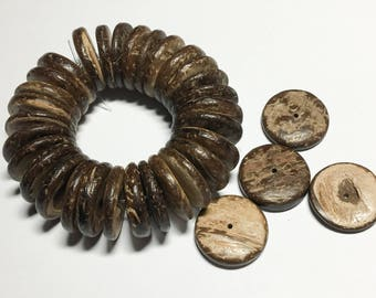 20mm Coconut wood discs, coco rondelle brown, coco 20mm brown, coconut shell, natural wood beads-30 pc