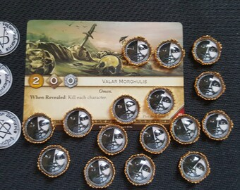 A Game of Thrones Tokens House of Black and White. Plus 3 Valar Morghulis tokens. AGOT LCG CCG