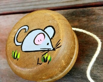 Vintage Hand Painted Wooden Personalized Yoyo
