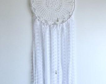 Pure white doily dreamcatcher with bells