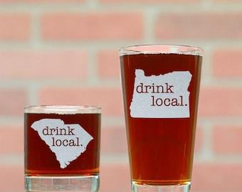 Custom Beer Glass and Rocks Glass Set. Drink Local Home Bar Set. Custom Pint Glass. Custom Whiskey Glass. Mancave Set. Personalized Glasses.